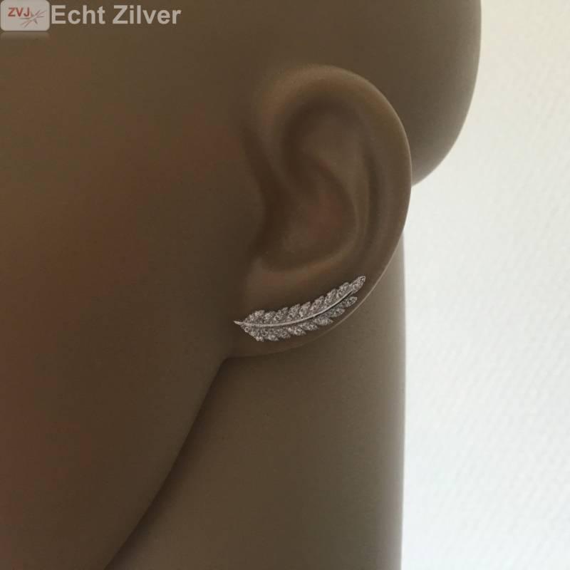 Zilveren blad, leaf ear cuff pins oor schuifjes-2