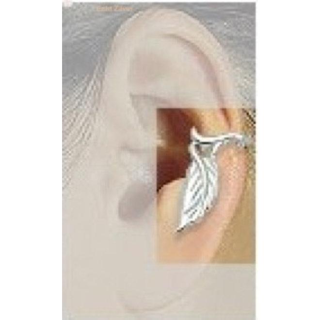 Zilveren blad ear cuff oorklem set