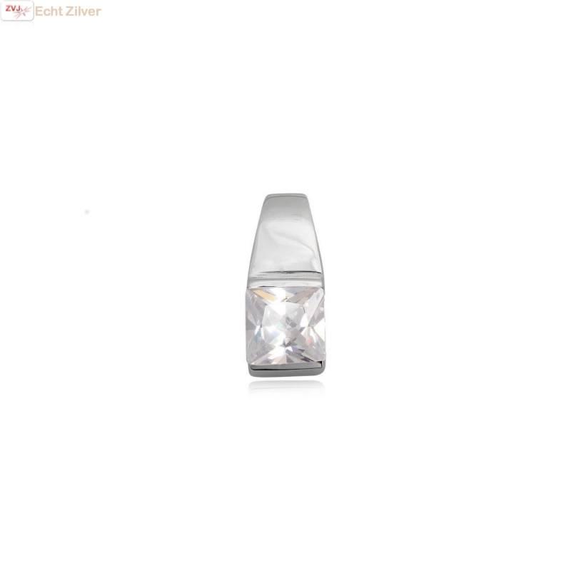 outlet Zilveren strakke vierkante witte zirkonia kettinghanger-1