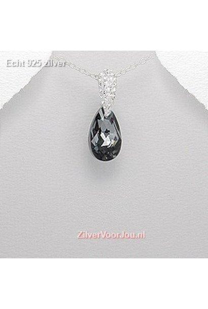 Zilveren jet kristal kettinghanger