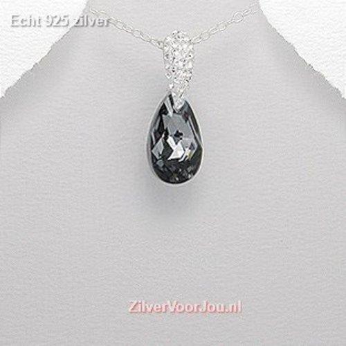 ZilverVoorJou Zilveren jet kristal kettinghanger