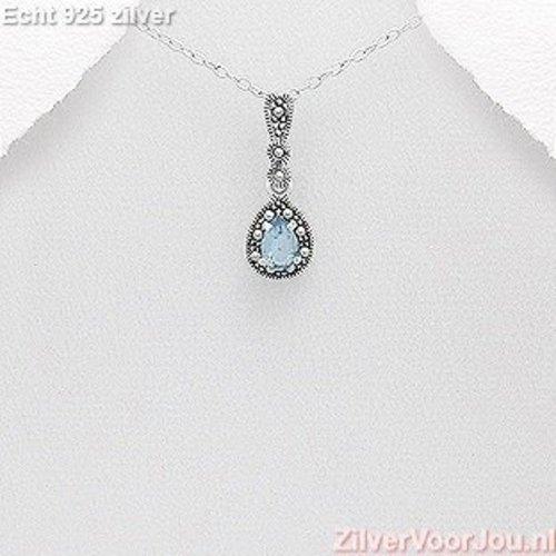 ZilverVoorJou Zilveren sierlijke marcasiet blauwe zirkonia hanger