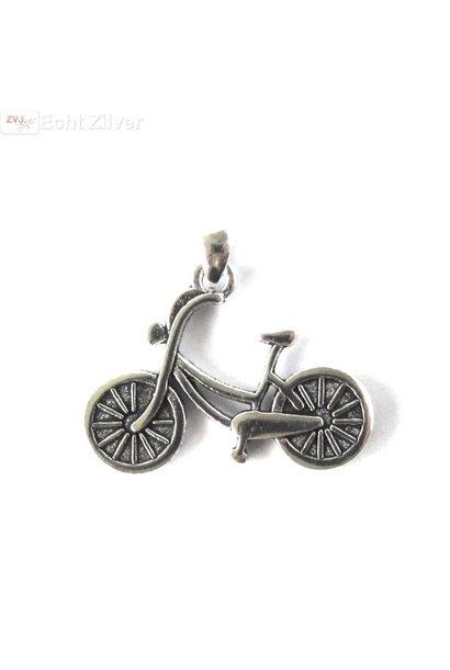 Zilveren fiets kettinghanger