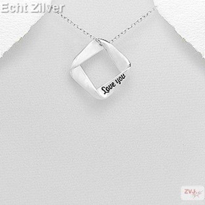 Zilveren vierkante love you message kettinghanger