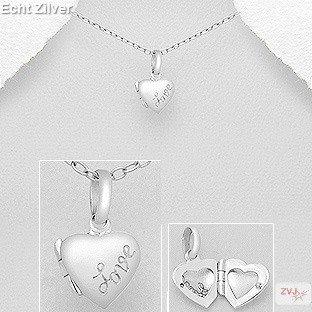 zilveren klein hart medaillon met inscriptie love-1