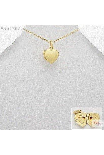 Zilveren geel goud vergulde klein hart medaillon