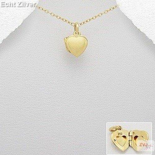 ZilverVoorJou Zilveren geel goud vergulde klein hart medaillon