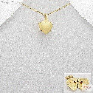 Zilveren geel goud vergulde klein hart medaillon-1