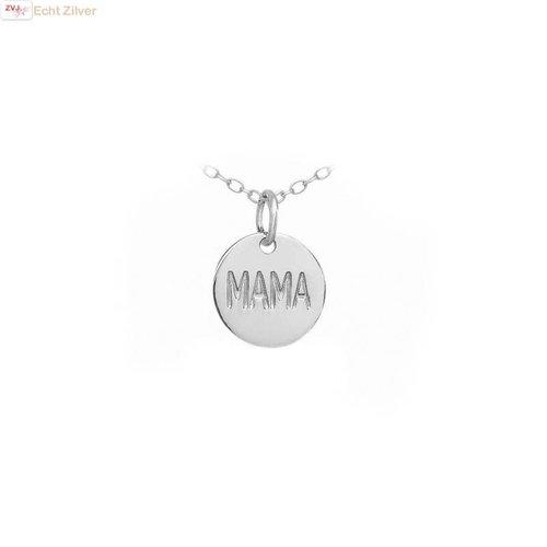 ZilverVoorJou Zilveren rond hangertje met inscriptie MAMA