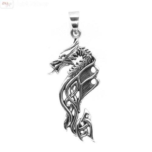 ZilverVoorJou Zilveren grote draak kettinghanger
