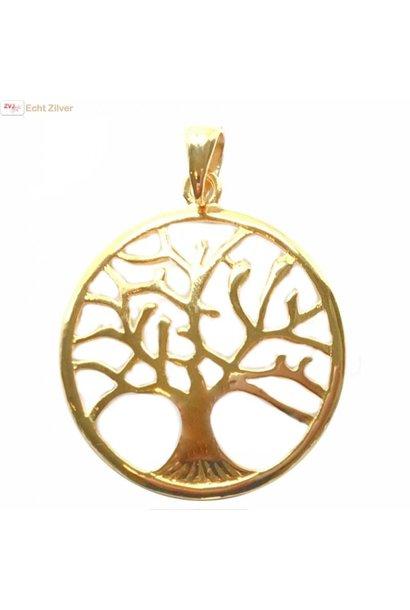 Echt Zilveren 18 karaat verguld tree of life Levensboom hanger