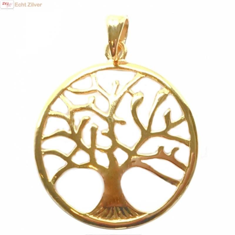 Echt Zilveren 18 karaat verguld tree of life Levensboom hanger-1