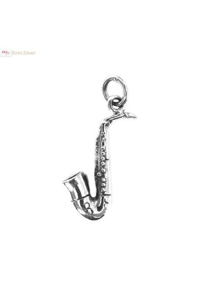 Zilveren 925 saxofoon kettinghanger