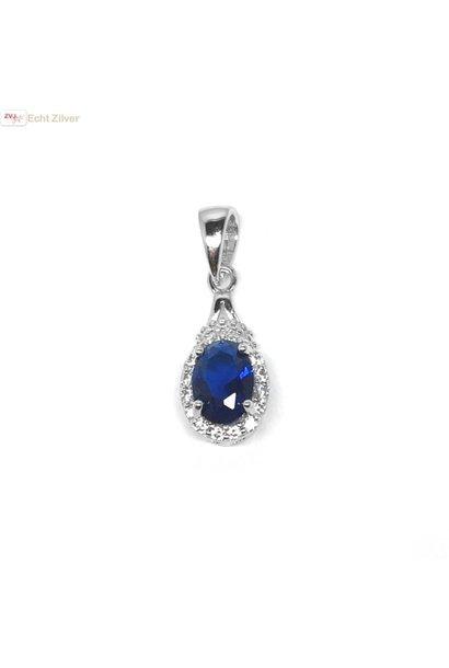 Zilveren saffier blauwe kettinghanger