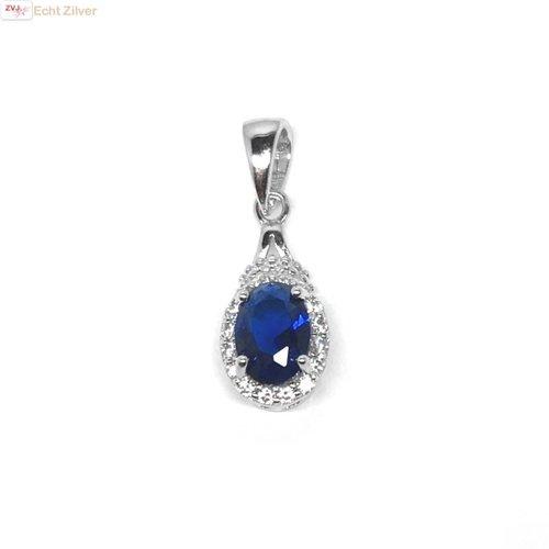 ZilverVoorJou Zilveren saffier blauwe kettinghanger