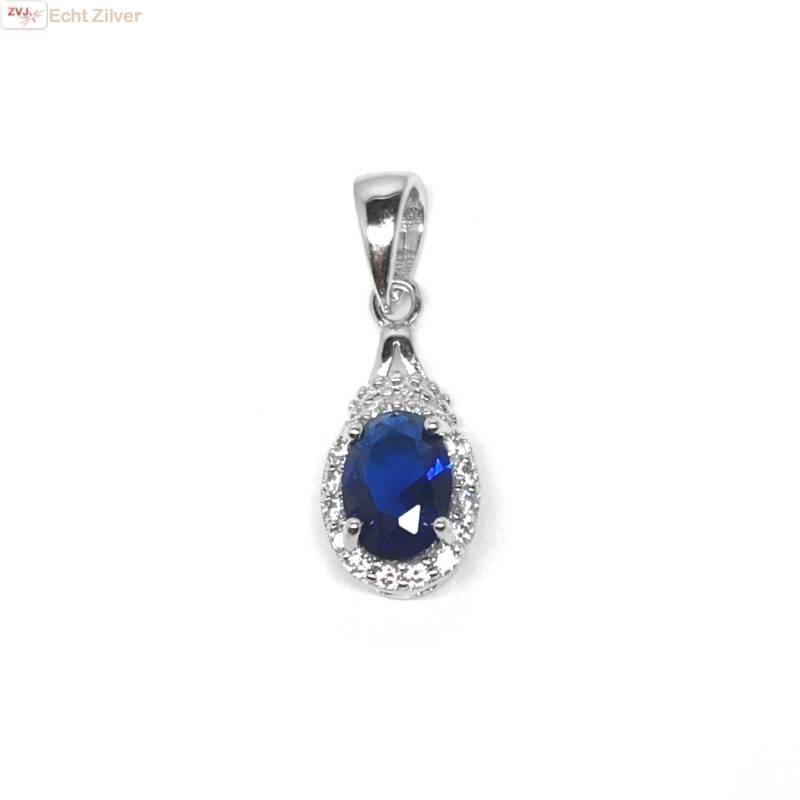 Zilveren saffier blauwe kettinghanger-1