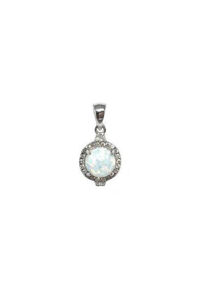 Zilveren witte opaal en zirkonia kettinghanger