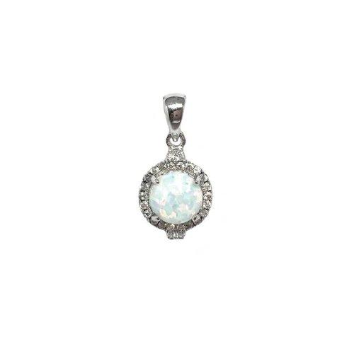 ZilverVoorJou Zilveren witte opaal en zirkonia kettinghanger