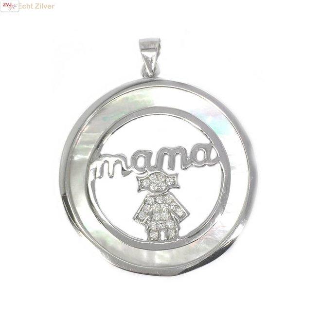 Zilveren parelmoer mama moeder kind hanger