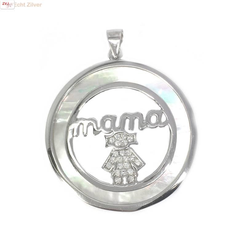 Zilveren parelmoer mama moeder kind hanger-1