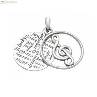 ZilverVoorJou Zilveren muzieknoot hanger met inscriptie