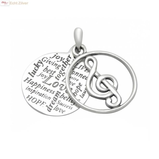 Zilveren muzieknoot hanger met inscriptie