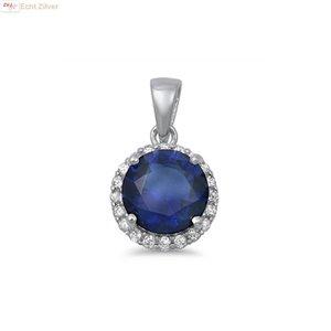ZilverVoorJou Zilveren saffier blauw ronde Diana kettinghanger