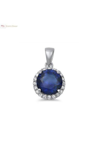 Zilveren saffier blauw ronde Diana kettinghanger