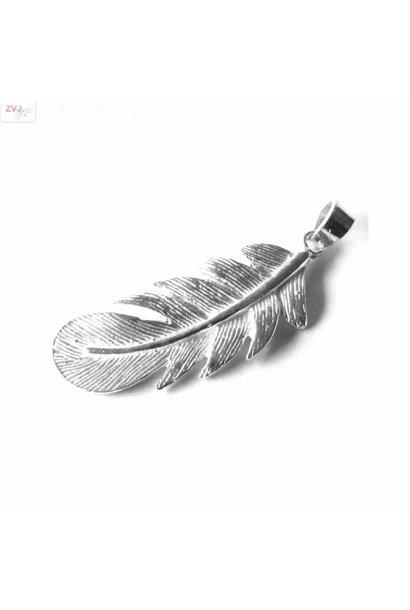 Zilveren trendy veer kettinghanger