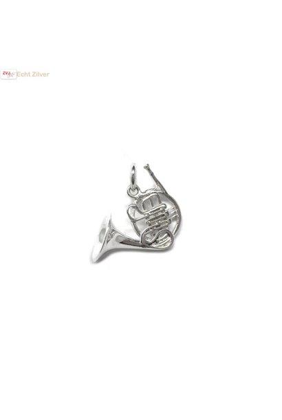 Zilveren hoorn muziekinstrument kettinghanger
