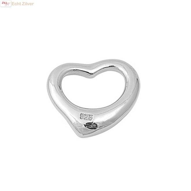 Zilveren design hartje kettinghanger