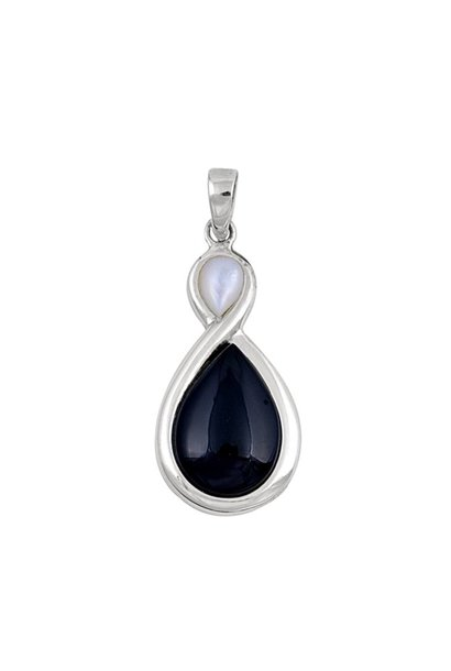 Zilveren zwarte onyx mother of pearl kettinghanger