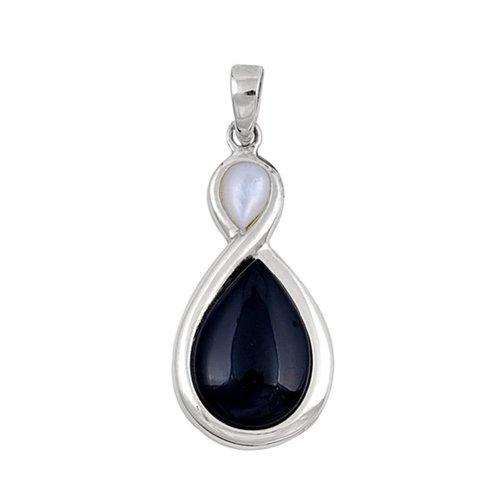 ZilverVoorJou Zilveren zwarte onyx mother of pearl kettinghanger