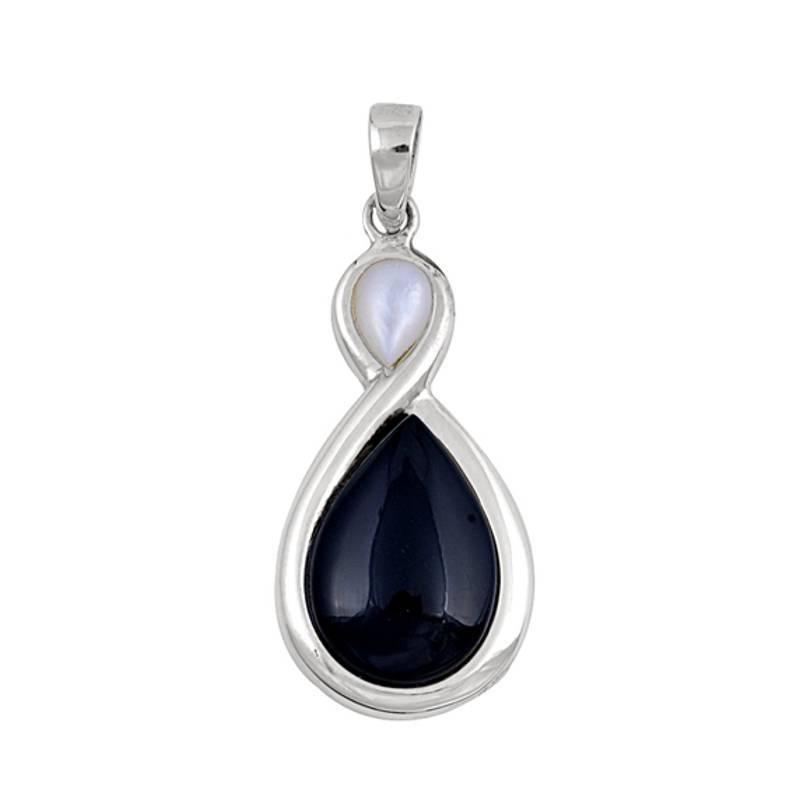 Zilveren zwarte onyx mother of pearl kettinghanger-1