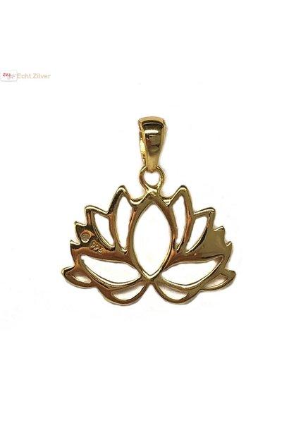 Goud op zilver Lotus bloem kettinghanger