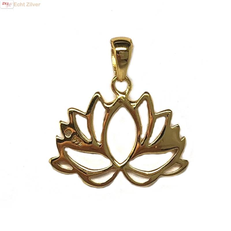 Goud op zilver Lotus bloem kettinghanger-1