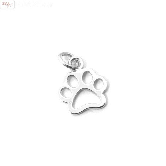 Zilveren paw pootafdruk hond kat kettinghanger