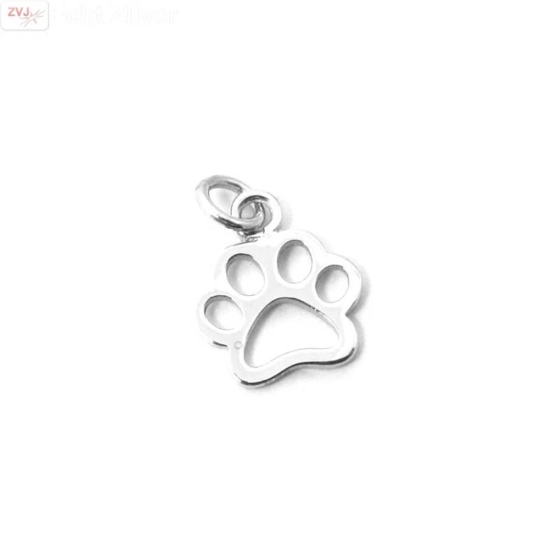 Zilveren paw pootafdruk hond kat kettinghanger-1