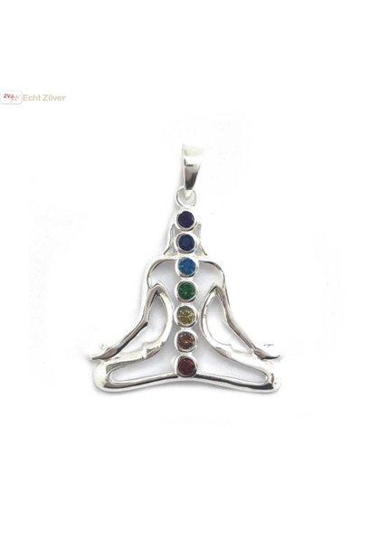 Zilveren chakra karma kettinghanger