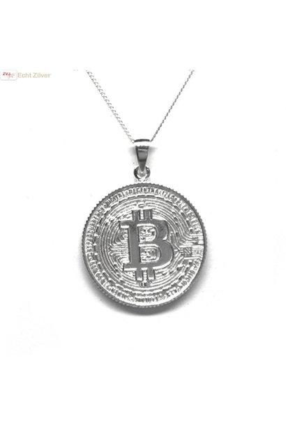 Zilveren  bitcoin munt kettinghanger