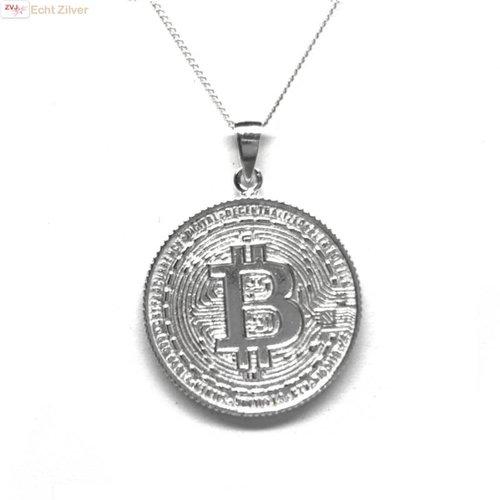 ZilverVoorJou Zilveren  bitcoin munt kettinghanger