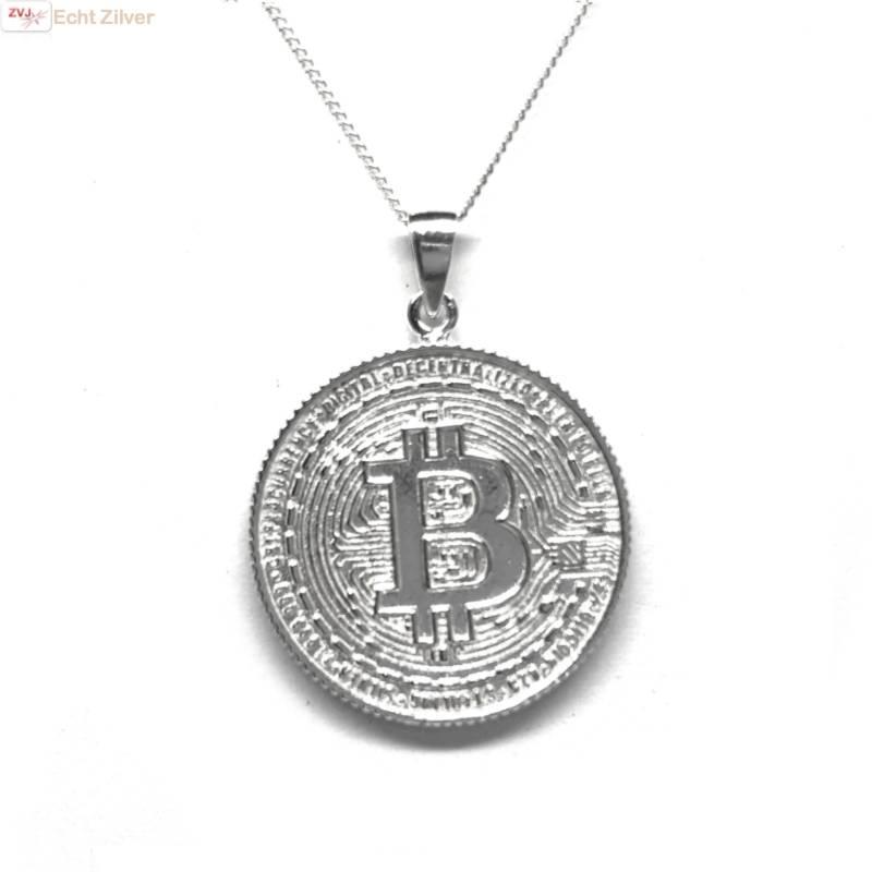 Zilveren  bitcoin munt kettinghanger-1