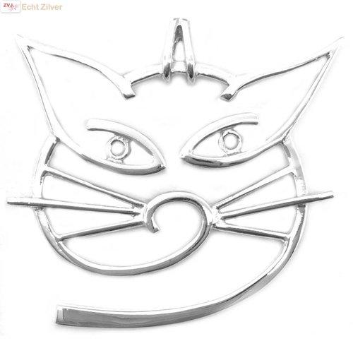 ZilverVoorJou Zilveren modern gestylde grote poes kat kettinghanger