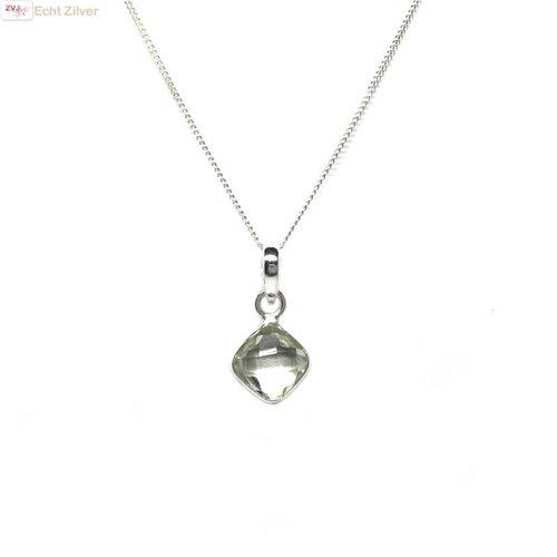 ZilverVoorJou Zilveren kettinghanger groene amethist