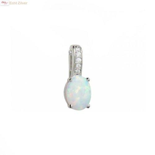 ZilverVoorJou Zilveren hanger ingelegd met witte opaal