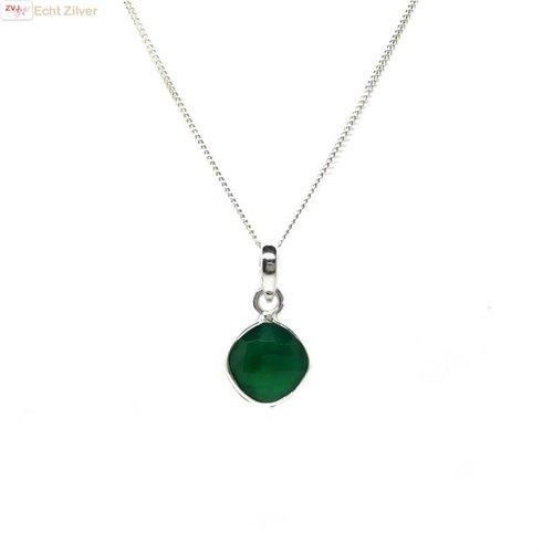 ZilverVoorJou Zilveren kettinghanger groene onyx