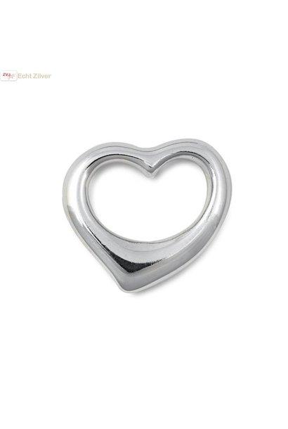 Zilveren design hart kettinghanger