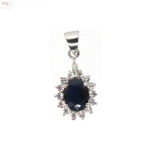 ZilverVoorJou Zilveren blauwe saffier Diana kettinghanger