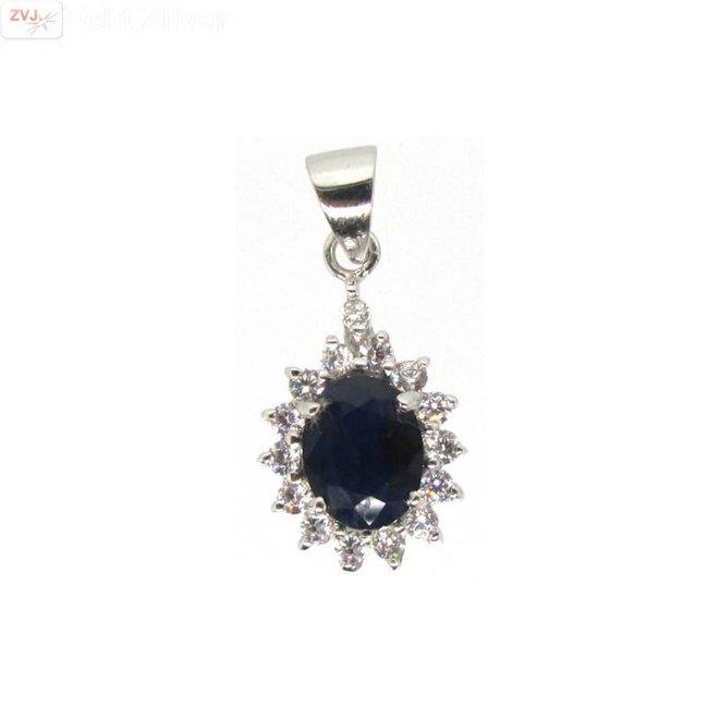 Zilveren blauwe saffier Diana kettinghanger