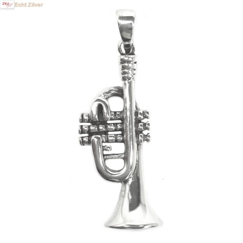 Zilveren trompet  kettinghanger-1